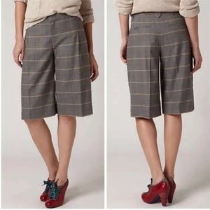 Anthropologie Cartonnier Plaid Gaucho Shorts
